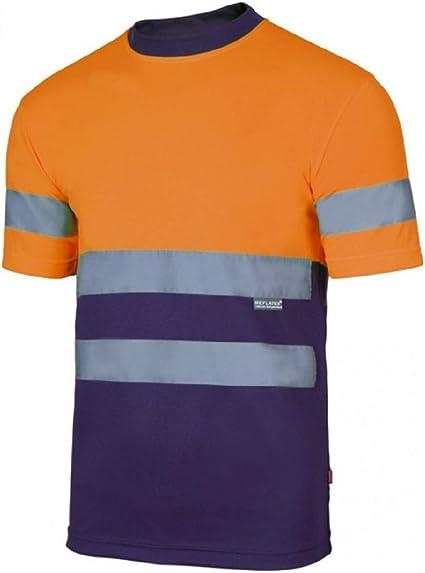 Velilla Camiseta Manga Corta Bicolor de Alta Visibilidad y Cintas Reflectantes. EN ISO 13688:2013 / EN ISO 20471:2013 + A1:2016. Unisex Marino + Naranja A.V. M