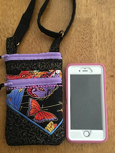 Butterfly print smart phone padded pouch. Butterfly hipster with two zippers. Butterfly small cross body bag. Zippered butterfly purse. ()