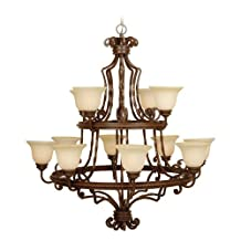 Jeremiah Lighting 8144AG12 Riata - Twelve Light 2-Tier Chandelier, Aged Bronze Finish with Antique Scavo Glass