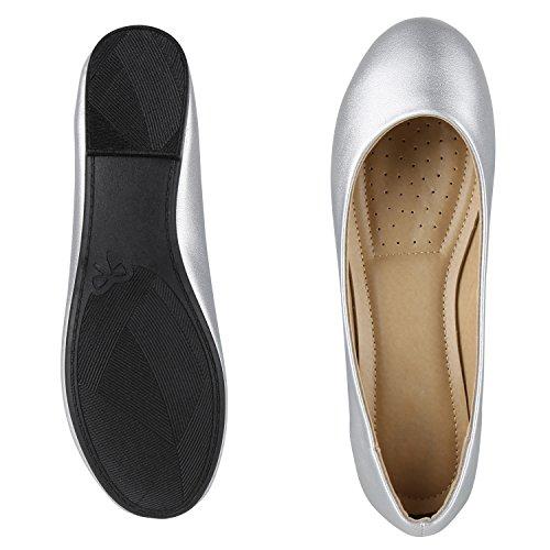 napoli-fashion Klassische Damen Ballerinas Metallic Flats Schleifen Elegante Lack Slippers Glitzer Schuhe Flache Abendschuhe Abiball Jennika Silber Schwarz