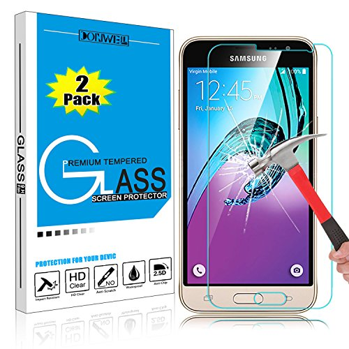 [2 PACK] Samsung Galaxy J3 Screen Protector, DONWELL 9H Ultra Thin Tempered Glass Screen Protector for Galaxy J3/J3 V/Amp Prime/express prime/SM-J320F/P/V [ Anti-Fingerprint] [Scratch-Resistant ]