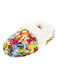 Shopkins Kids Girls Moccasin Slippers with Faux Fur Lining