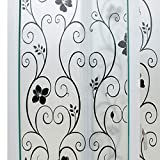 Mikomer Decorative Window Film Black Flower Static Cling Privacy Door Film, Non Adhesive/Removable/Heat Control/Anti UV for Office and Home,35In. by 78.7In.