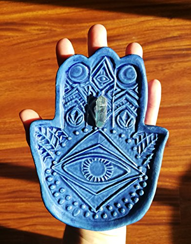 Blue Ring dish, jewelry plate, All seeing eye, eyeball catch all, soap dish, small plate, trinket dish gift. altar bowl. Handmade bohemian decor. one of a kind carved pottery dish.