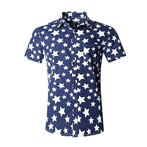 NUTEXROL Men's Star Print Casual Shirt Short Sleeve Cotton Shirts White(star) S