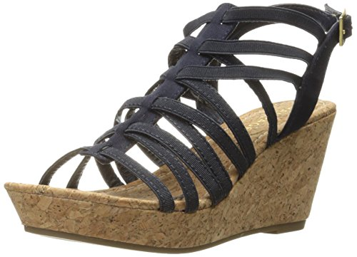 Josie Platform Shoes - Rampage Women's Josie Stretch Elastic Platform Open Back Wedge Sandal,  Navy Canvas Gore , 8.5 M US