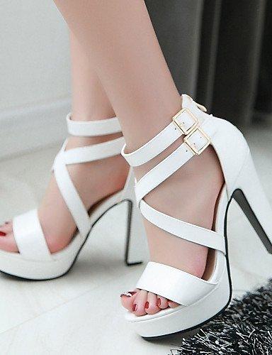 ShangYi Women's Shoes Heel Heels / Peep Toe / Platform Sandals / Heels Outdoor / Dress / Casual Black / Blue / Pink / White Blue 0rOHUuQ