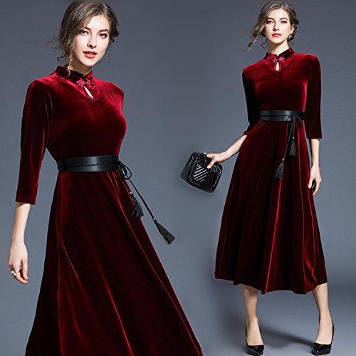 ZHUDJ Señoras _ Cheongsam Modelos Vestido De Cintura Claret