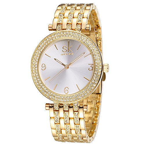 Women Watches Girl Stainless Steel Wrist Watch Fashion Jewelry Round Dial Bracelet Watch (Gold) from LAIMAI