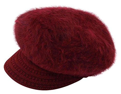 TOPSUNG Women Girls Crochet Snow Windproof Warm Winter Cap Knit Wool Ski Hat with Visor Wine Red