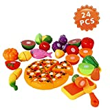 Lumiparty Cutting Fruits & Vegetable Toys (24 PCS), Pretend Play Food Set for Kids, Play Kitchen Cutting Food, Toy Kitchen Set, Food Teaching Gift