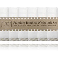 "Premium Baby Washcloths - (6 Pack) Organic Baby Washcloth Bamboo - Ultra Soft Face Towels - 10"" x 10"" - Perfect Baby…"