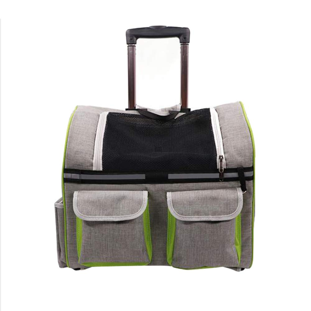 Breathable Dog Cat Rolling Bag Portable Pet Bag Trolley Comfort Transport Box And Telescopic Handle, Kittens And Dog Puppy Backpack