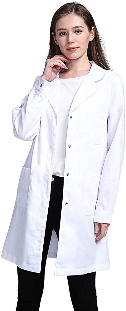 Icertag Bata de Laboratorio, médico Abrigo Abrigo de Mujer, Abrigo Blanco para Damas, Adecuado para Estudiantes de la Escuela Laboratorio de Ciencia Enfermera Cosplay Vestido de algodón