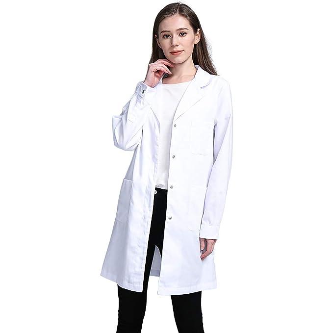 Icertag Bata de Laboratorio, médico Abrigo Abrigo de Mujer, Abrigo Blanco para Damas,
