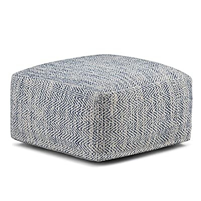 Simpli Home AXCPF-11 Nate Transitional Square Pouf in Patterned Denim Melange Cotton