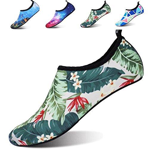 JOINFREE Women's Water Shoes Men's Water Footwear Quick-Dry Water Sports Beach Swim Shoes Barefoot Aqua Footwear Flower Medium