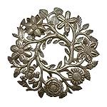 Small-Floral-Wreath-Drum-Sculpture-Haitian-Metal-Art-14-X-14