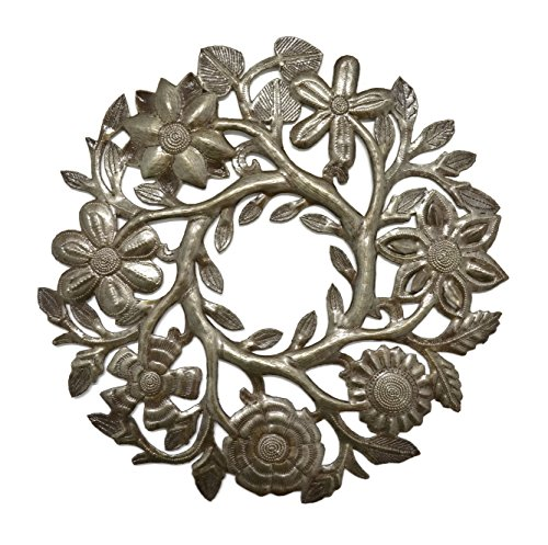 Small Floral Wreath Drum Sculpture