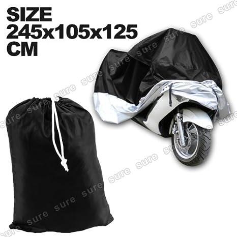 Funda Protector de Polyester Talla XL 245cm Cubierta con Bolsillo para Moto Motocicleta Color Negro y Azul CLE DE TOUS