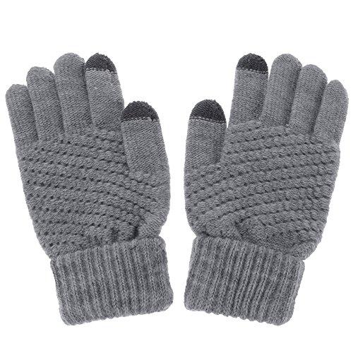 女性手袋 秋冬着 スマートフォン用 ソリッドカラー マジックタッチスクリーン ニットミトンウォーム手袋 グレー