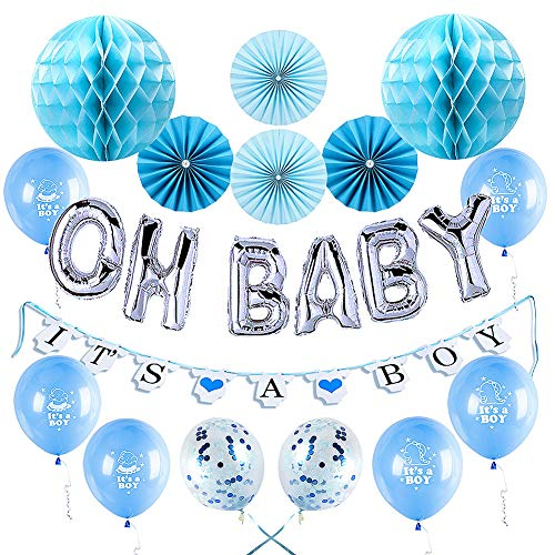 Baby Shower Decorations for Boys Kit by KeaParty - It's a Boy Banner and Balloons Party Supplies - OH Baby Letters Balloons - Confetti Balloons - Paper Folding Fans and Paper Honeycomb Balls