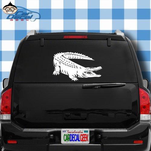 (Car Decal Geek Alligator Crocodile Vinyl Decal Sticker Bumper Cling for Car Truck Window Laptop MacBook Wall Cooler Tumbler | Die-Cut/No Background | Multi Sizes/Colors Green, 20