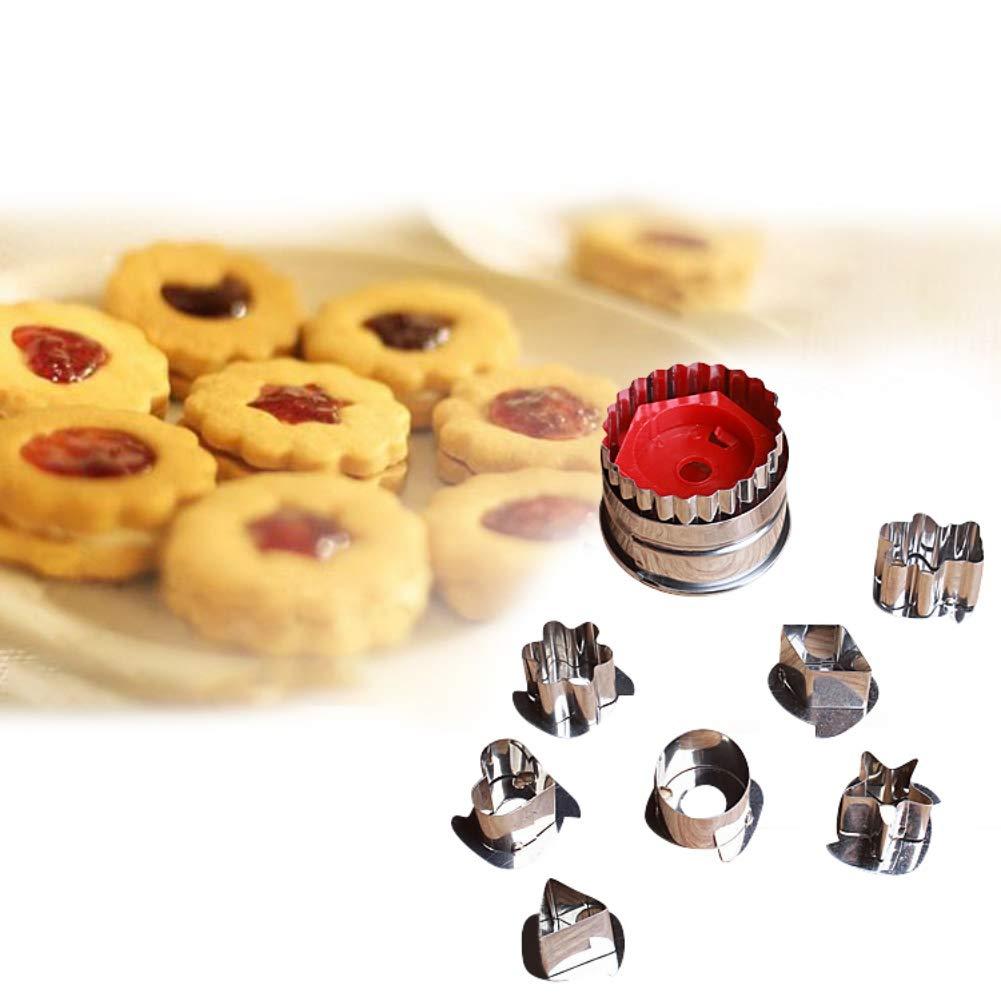 Yalatan 7PCS Acciaio Inossidabile Frutta Verdura Salsa di riempimento di Biscotti Strumento di goffratura Stampo di Cottura