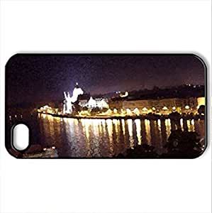 Budapest by Night - Case Cover for iPhone 4 and 4s (Skyscrapers Series, Watercolor style, Black)