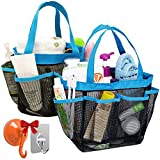 2 Pack Portable Mesh Shower Caddy with 8 Storage Pockets, YuCool Hanging Tote Toiletry Bath Organizer Bag with 2 Type Hooks for Dorm Gym Camp Travel - Blue