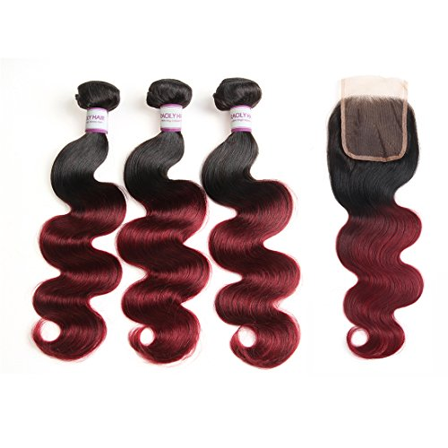 Racily Hair Body Wave Ombre Brazilian Hair with Closure Black to Maroon Ombre Extensions Sew In Human Hair Products for Black Women (18'' 20'' 22'' & Closure 16'') by R RACILY HAIR