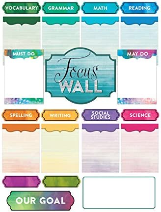 Renewing Minds Retro Chic Focus Wall Bulletin Board Set 23 Pieces