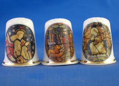 Porcelaine Ensemble de 3 d/és /à coudre de collection en verre teint/é fen/être