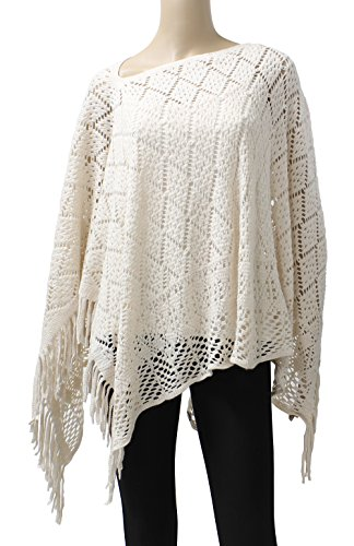 LL- Open Knit Short Asymmetric Pullover Poncho Sweater Top with Fringe (Ivory Diamond) (Plus Size Poncho)