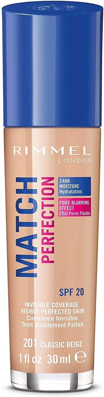 Rimmel London Match Perfection Foundation Base de Maquillaje Tono 201 Classic Beige, 30 ml