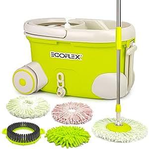 EGOFLEX Spin Mop Bucket System - Premium Microfiber Floor Mop Stainless Steel Easy Wringer Rolling Bucket [3x Microfiber Mop Heads, 1x Chenille Mop Pad, 1x Scrub Brush, Extra Length Handle]