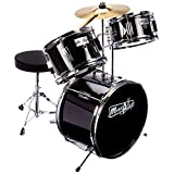 Music Alley DBJK02-BK Kids 3 Piece Beginners Drum Kit, Black