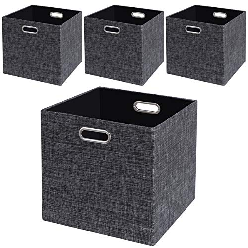 Storage Cube Basket Bin,Foldable Closet Organizer Shelf Cabinet Bookcase Boxes,Thick Fabric Drawer Container (4, Black) ()