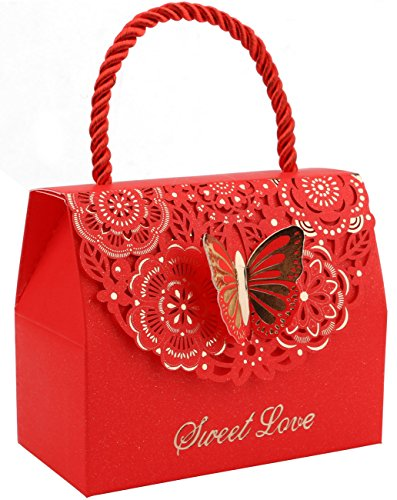 (DriewWedding 20pcs Butterfly Decorative Boxes Paper Tote Gift Bags with Handle, Wedding Flower Favor Boxes for Anniversary, Birthday Parties, Baby Shower, Bridal Showers - Red, 4.3