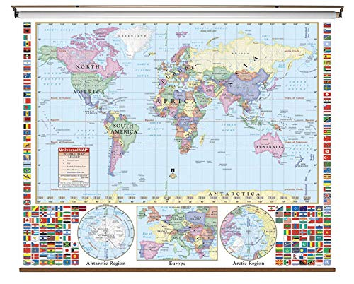 Wall Map Primary - Kappa Maps Primary World Map on Roller with Backboard