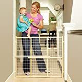 North States 50' Wide Extra-Wide Wire Mesh Baby Gate: Installs in Extra-Wide Openings in Seconds Without damaging Walls. Pressure Mount. Fits 29.5'-50' Wide (32' Tall, Sustainable Hardwood)