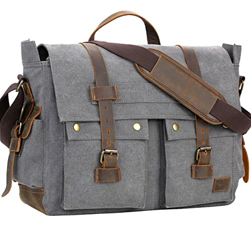WOWBOX Messenger Bag for Men 17.3 inch Canvas Laptop Bag Bookbag Working Bag for Business School (Canvas Flap Pocket Messenger Bag)