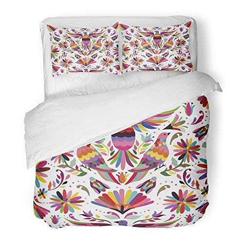Emvency Bedding Duvet Cover Set Full/Queen Size (1 Duvet Cover + 2 Pillowcase) Otomi Mexican Pattern Flowers Mexico Birds Oaxaca Colors Insects Nature Hotel Quality Wrinkle by Emvency