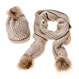 Jelinda Women Autumn Winter Knitted Hat and Scarf Set (Beige)