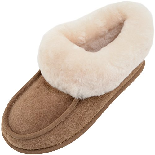 SNUGRUGS Fern, Sheepskin Slipper Boot with Rubber Sole, Chaussons Montants Femme Marron (Chestnut)