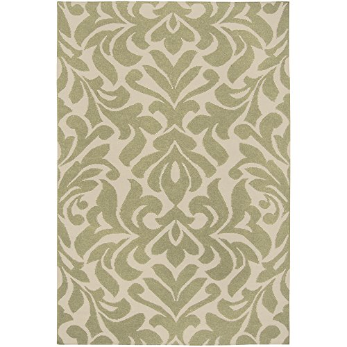 Surya Candice Olson by Market Place MKP-1005 Flatweave Hand Woven 100% Wool Sage Green 5' x 8' Global Area (Market Place Hand Woven Rug)
