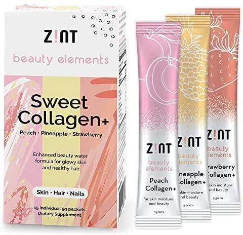Zint Sweet Marine Collagen Powder Beauty Drink Mix (Assorted): Sugar-Free Collagen Peptides Drink w/Glucosamine, Hyaluronic Acid, Vitamin C, Acai Extract (15 5g Packets)
