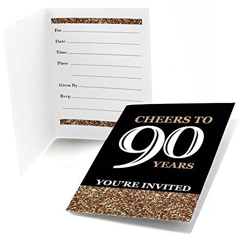 Adult 90th Birthday - Gold - Fill-In Birthday Party Invitations (8 (90th Birthday Invitations)
