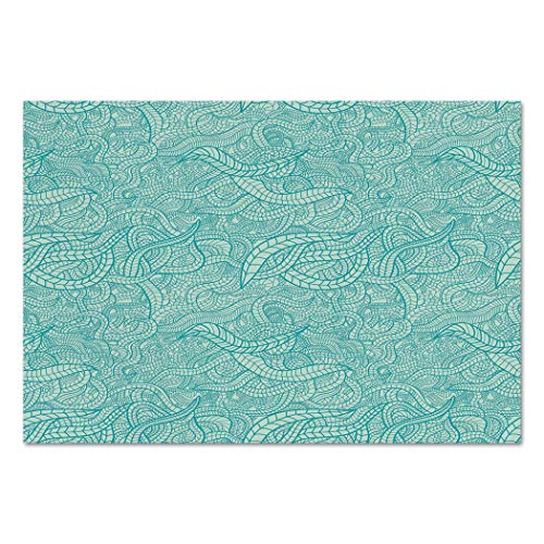 Large Wall Mural Sticker [ Aqua,Vintage Botanic Nature Leaves Veins Swirls Ivy Mosaic Inspired Image Print Decorative,Turquoise and White ] Self-Adhesive Vinyl Wallpaper/Removable Modern ()