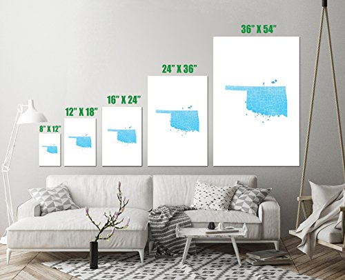 Oklahoma State Map Watercolor Art Print Wall Decor Image Unstretched - Unframed Canvas 12 x 18 - S ()
